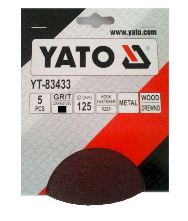 Csiszolópapír tépőzáras YATO  P80×125mm 5db/csomag Kód:YT-83433
